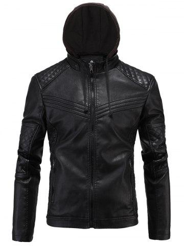 Cheap Argyle Spliced PU-Leather Fleece Zip-Up Jacket