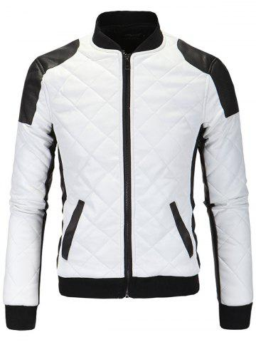 Trendy Color Block Splicing Argyle Zip-Up Cotton-Padded PU-Leather Jacket WHITE 5XL