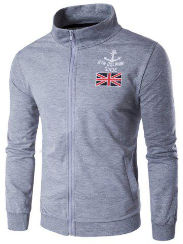 Online Stand Collar Anchor and Union Jack Print Zip-Up Jacket