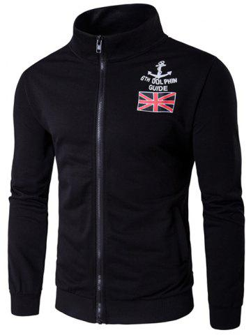 Online Stand Collar Anchor and Union Jack Print Zip-Up Jacket BLACK 2XL