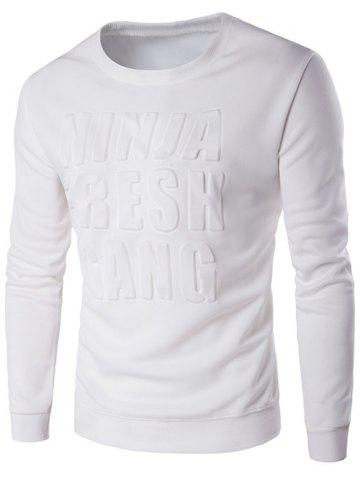 Outfits Crew Neck 3D Graphic Emboss Long Sleeve Sweatshirt WHITE 5XL