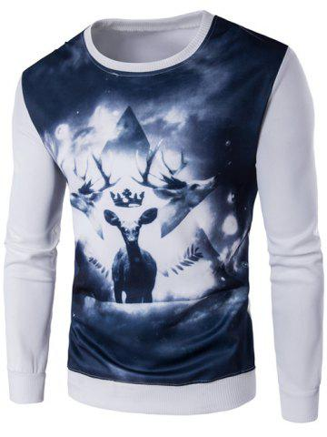 Shops Crew Neck 3D Deer Print Long Sleeve Sweatshirt