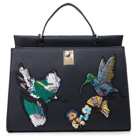 Textured PU Leather Embroidered Tote