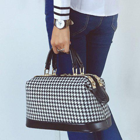Latest PU Splice Metal Trimmed Houndstooth Handbag