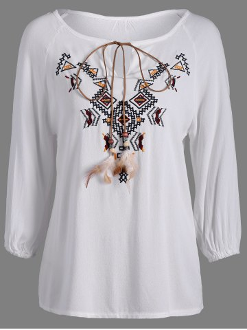 Fancy Embroidered Long Sleeve Peasant Blouse WHITE ONE SIZE