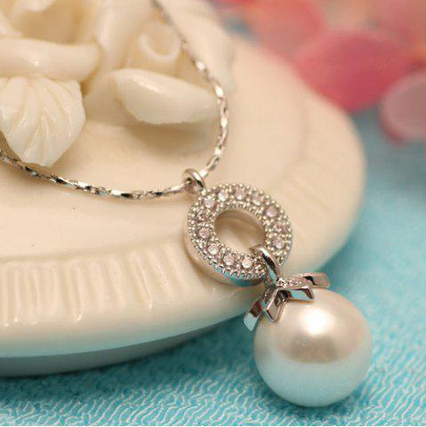 Best Artificial Pearl Rhinestone Circle Pendant Necklace