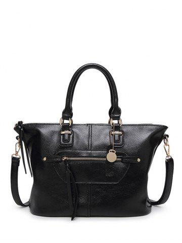 Outfits Metal Zip PU Leather Handbag
