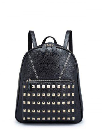 Discount PU Leather Stitching Studded Backpack BLACK