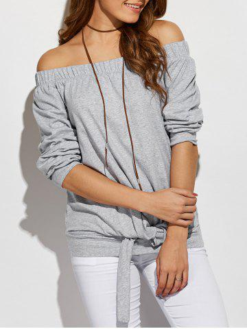 Fancy Off The Shoulder Front Knotted T-Shirt GRAY L