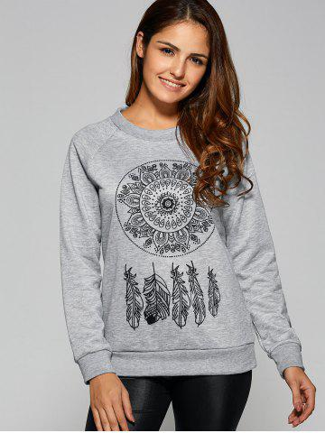 Trendy Dreamcather Print Pullover Sweatshirt GRAY XL