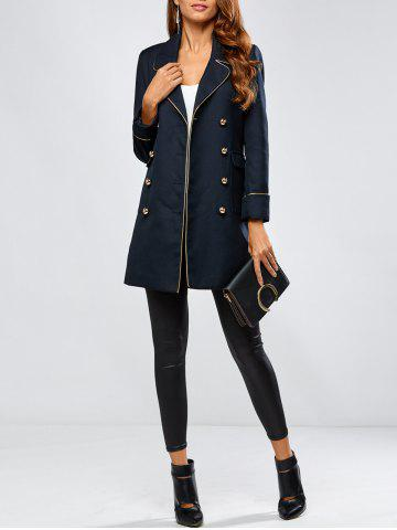 Shops Contrast-Trim Double-Breasted Longline Blazer - L PURPLISH BLUE Mobile