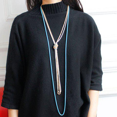 Sale Ultra Long Knotted Pendant Necklace LAKE BLUE