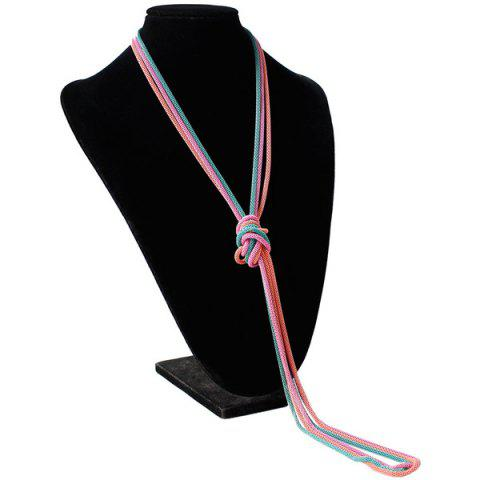 Ultra Long Knotted Pendant Necklace - Shallow Pink - 85c