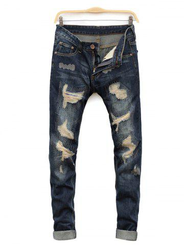 Outfits Straight Leg Cat's Whisker Distressed Denim Jeans BLUE 38