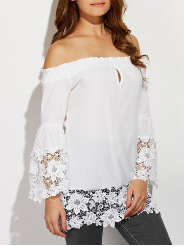 Fashion Off The Shoulder Lacework Splicing Blouse WHITE L