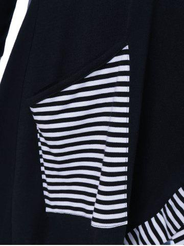 Buy Pinstriped Patchwork Pockets Design Tee - XL BLACK Mobile