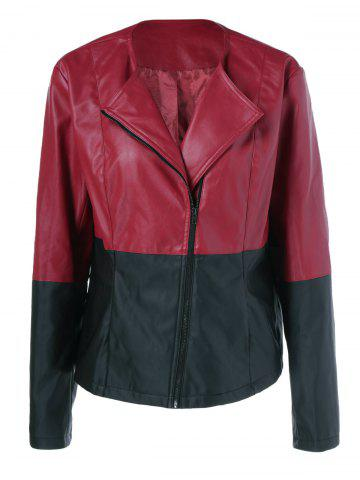 New Plus Size Zipper Sleeve PU Biker Jacket