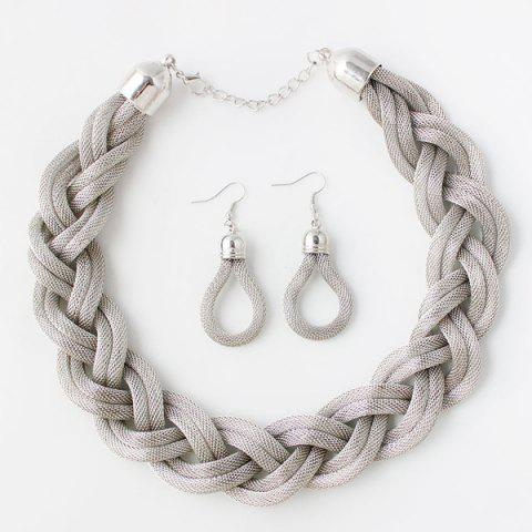 Knitted Alloy Necklace Set - Silver White - 130cm