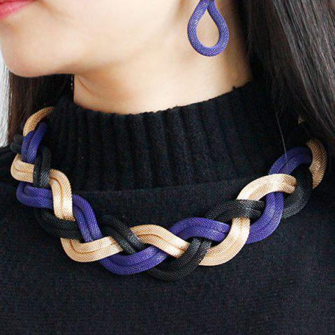 Best Multi Color Knitted Alloy Necklace Set BRIGHT BLUE