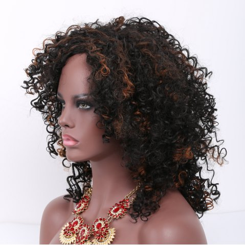 Cheap Mixed Color Medium Afro Curly Side Bang Synthetic Wig