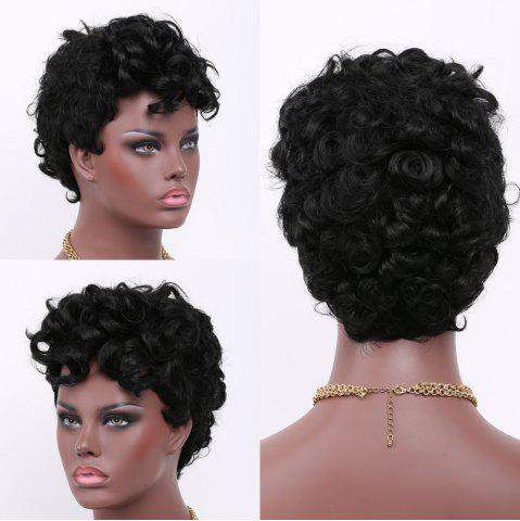 Latest Short Curly Side Bang Fluffy Synthetic Wig