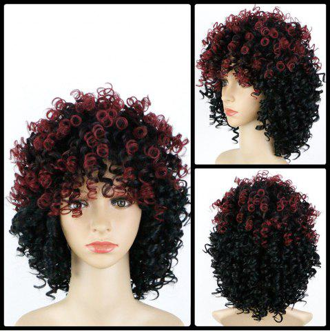 Sale Medium Afro Curly Full Bang Colormix Synthetic Wig