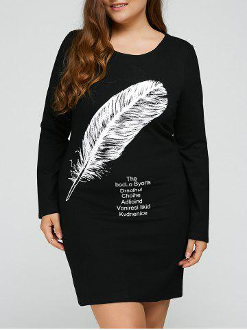 New Plus Size Feather Print Short Dress BLACK 3XL