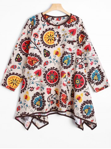 Asymmetric Ethnic Style Loose Dress - OFF WHITE ONE SIZE