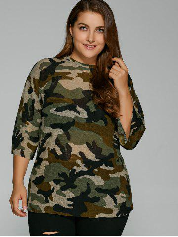 Outfit Drop Shoulder Plus Size Camouflage T-Shirt