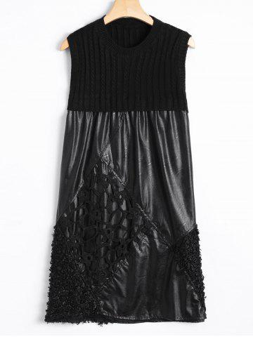 Trendy Casual Cut Out Lace Rhombus and Knit Patch PU Dress BLACK ONE SIZE