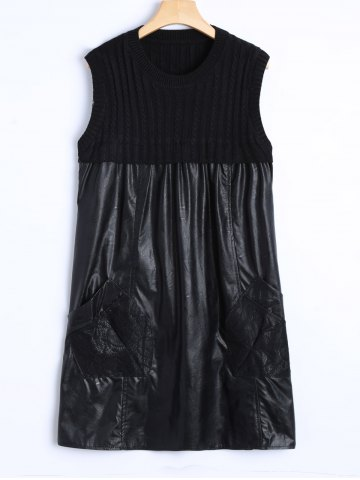 Unique Casual Lace Pockets and Knit Patch PU Dress BLACK ONE SIZE