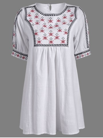Fashion Embroidered Peasant Tunic Dress WHITE ONE SIZE