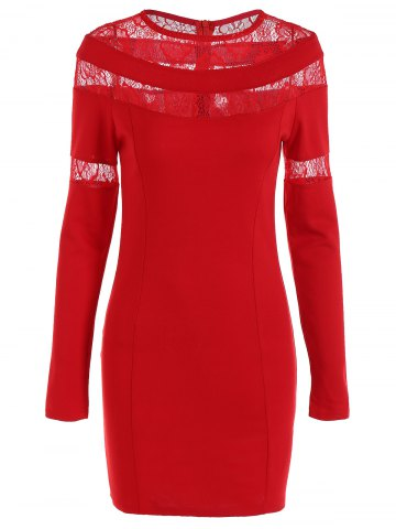 Cheap Lace-Paneled Openwork Bandage Long Sleeve Dress RED L