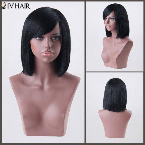 Fancy Medium Side Bang Straight Siv Human Hair Wig