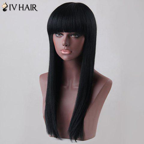 Outfits Long Neat Bang Straight Siv Human Hair Wig - JET BLACK  Mobile
