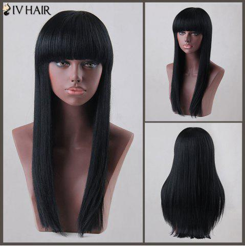 Online Long Neat Bang Straight Siv Human Hair Wig JET BLACK