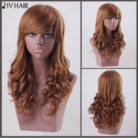 Store Long Side Bang Curly Siv Human Hair Wig AUBURN BROWN