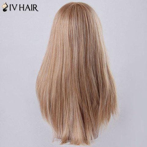 Trendy Long Oblique Bang Tail Adduction Siv Human Hair Wig - BLONDE  Mobile