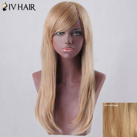 New Long Oblique Bang Tail Adduction Siv Human Hair Wig - BLONDE  Mobile