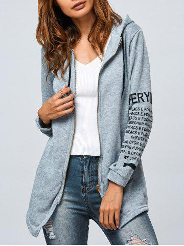 Affordable Graphic Zip Up Asymmetrical Hoodie GRAY XL