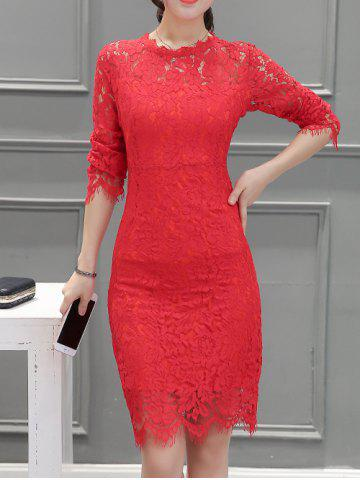 Chic Long Sleeve Back Slit Lace Dress