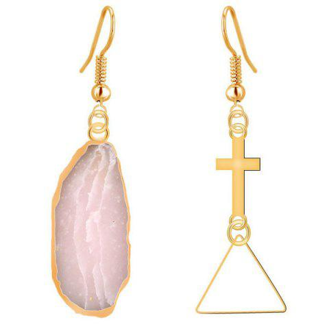 Online Natural Stone Cross Dissymmetry Drop Earrings COLORMIX