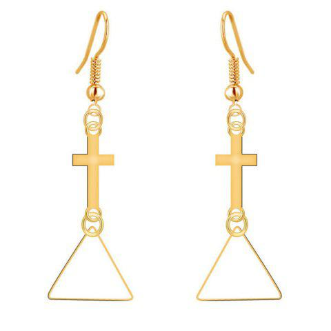 Discount Geometric Cross Triangle Drop Earrings GOLDEN