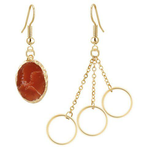 Fashion Gold Plated Stone Asymmetry Dangle Earrings GOLDEN