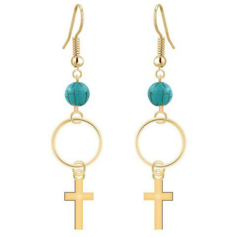 Outfits Pair of Cross Turquoise Dangle Drop Earrings GOLDEN