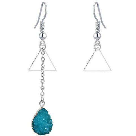 New Mixed Match Triangle Geometry Drop Earrings BLUE