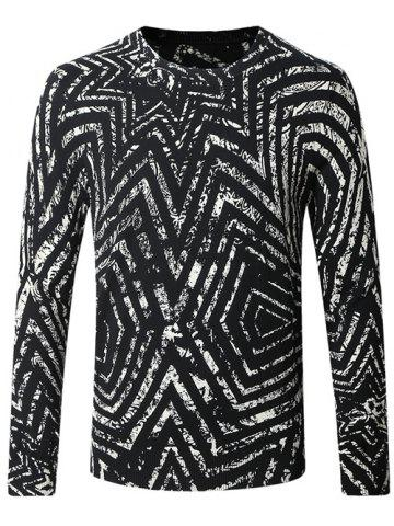 Online Crew Neck Striped Pattern Color Splicing Long Sleeve Sweater WHITE AND BLACK 4XL