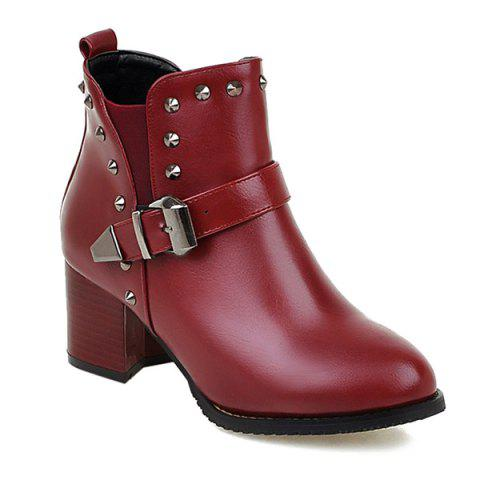 Unique Rivets Elastic Band Buckle Ankle Boots
