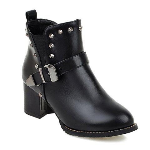 Affordable Rivets Elastic Band Buckle Ankle Boots BLACK 39