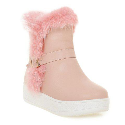 Sale Faux Fur Buckle Platform Snow Boots PINK 39